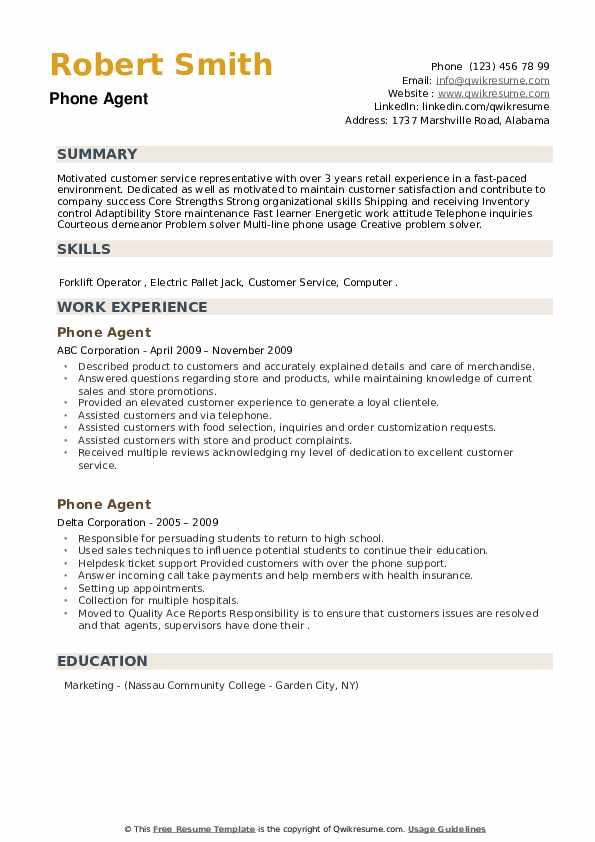 Phone Agent Resume example