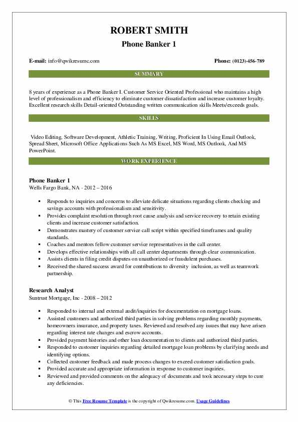 Phone Banker 1 Resume Sample