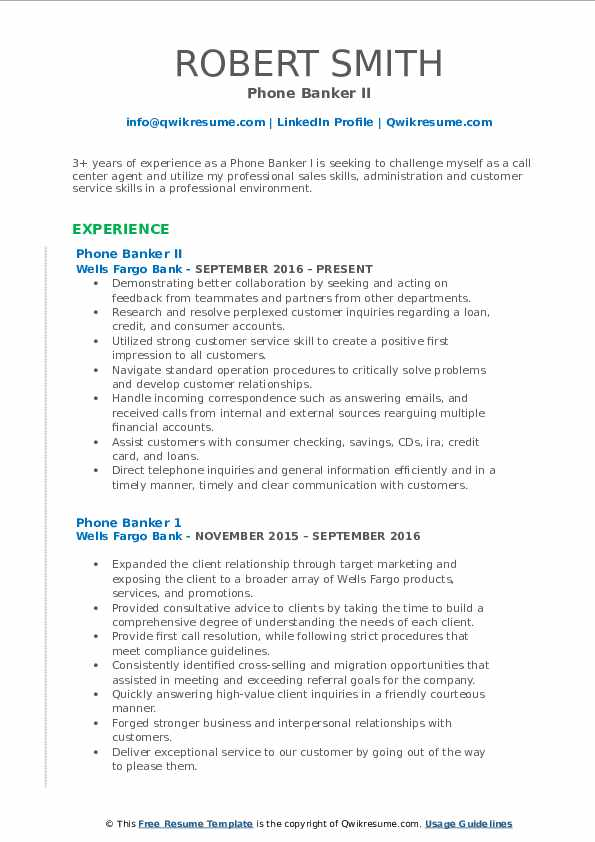 Phone Banker II Resume Template