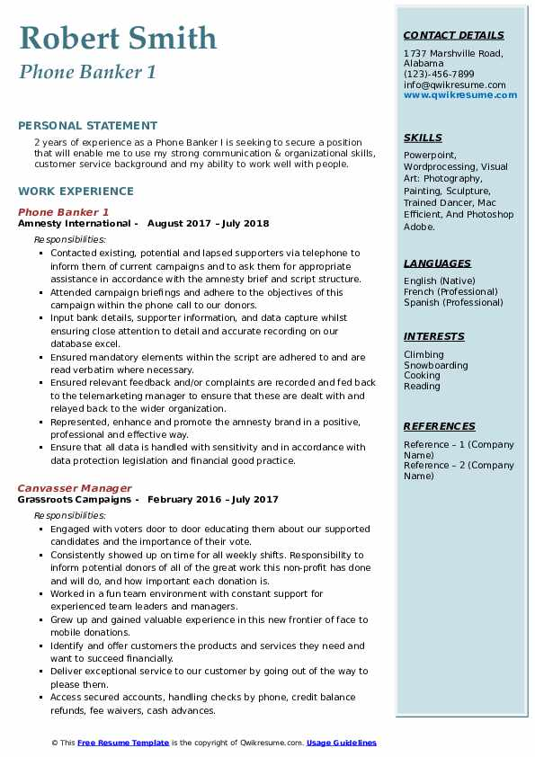 Phone Banker 1 Resume Template