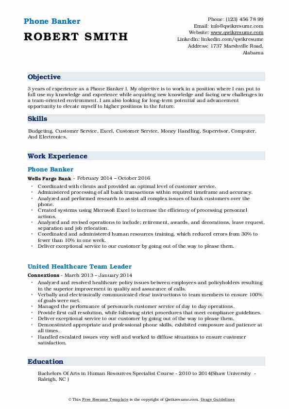 phone banker resume samples