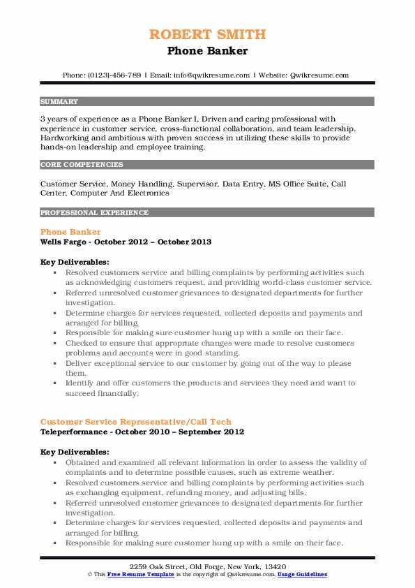 Phone Banker Resume Model