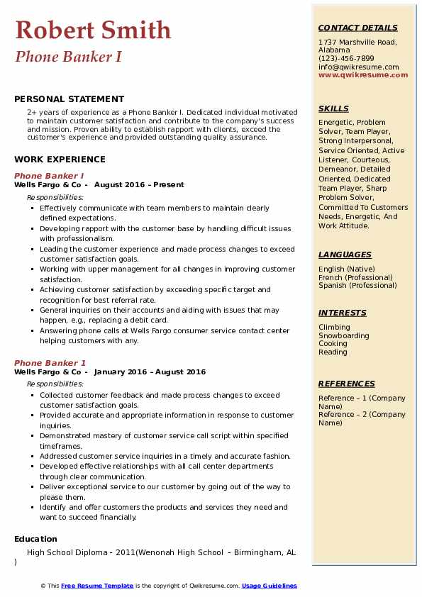 Phone Banker I Resume Template