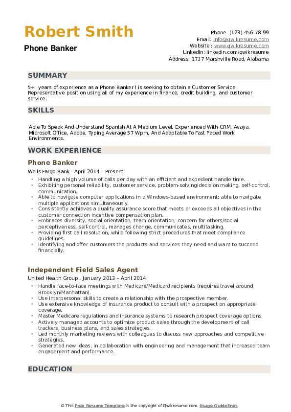 Phone Banker Resume example