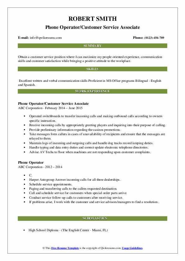 Phone Operator/Customer Service Associate Resume Example