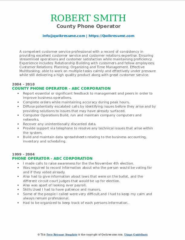County Phone Operator Resume Format