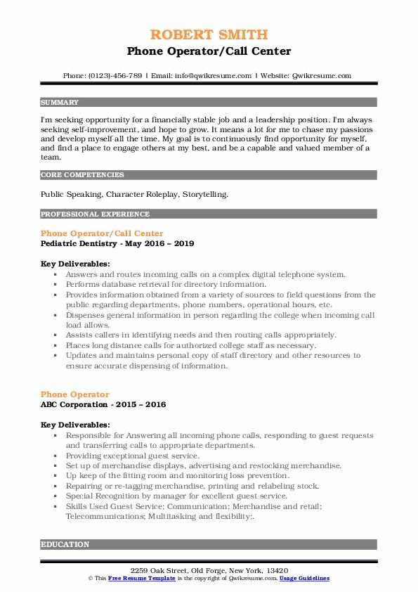 Phone Operator/Call Center Resume Model