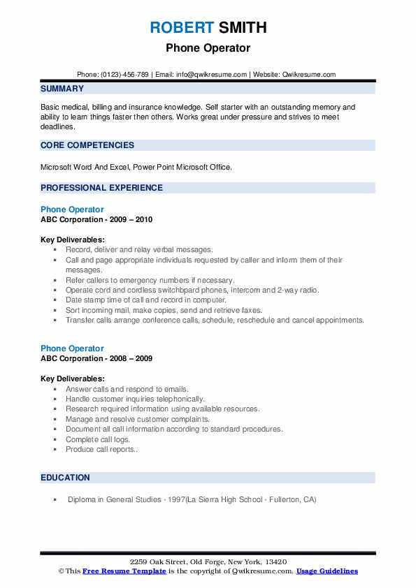 Phone Operator Resume example