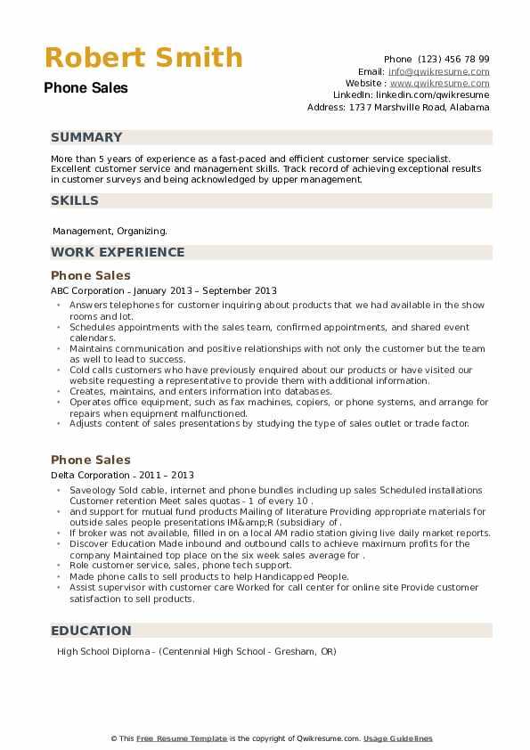 Phone Sales Resume example
