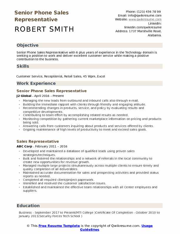 Senior Phone Sales Representative Resume Example