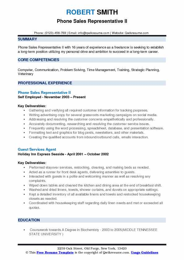Phone Sales Representative II Resume Format