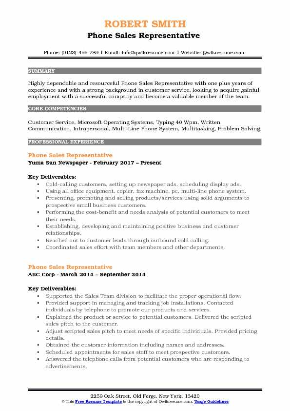 Phone Sales Representative  Resume Model