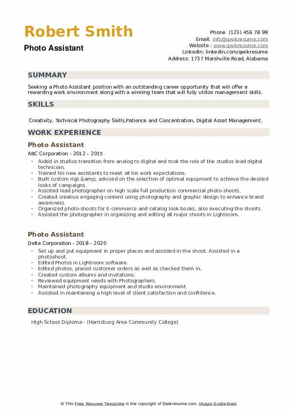 Photo Assistant Resume example