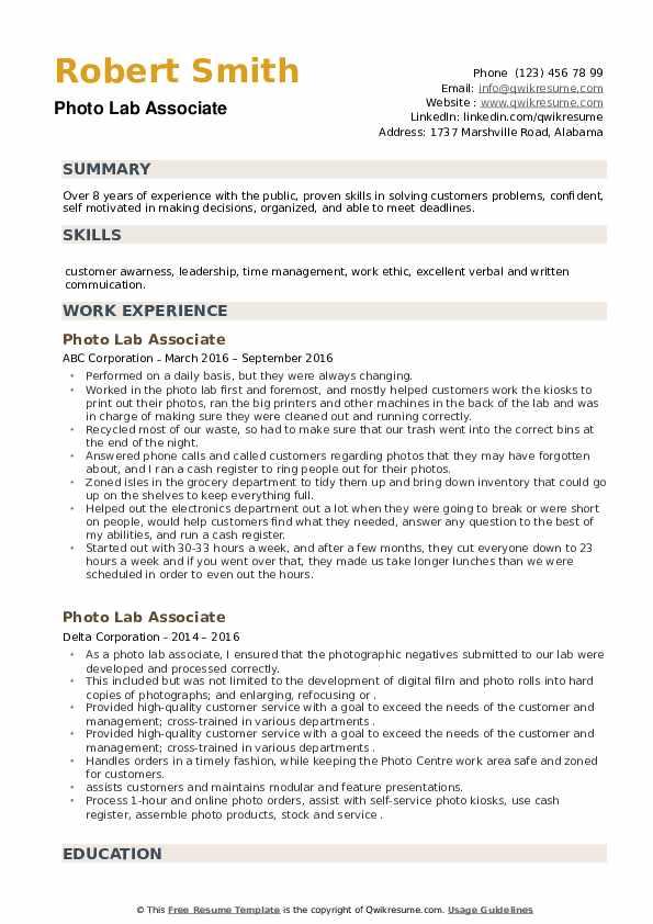 Photo Lab Associate Resume example