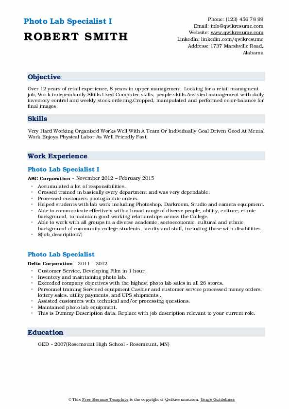 Photo Lab Specialist Resume Samples Qwikresume