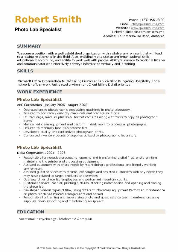 Photo Lab Specialist Resume example