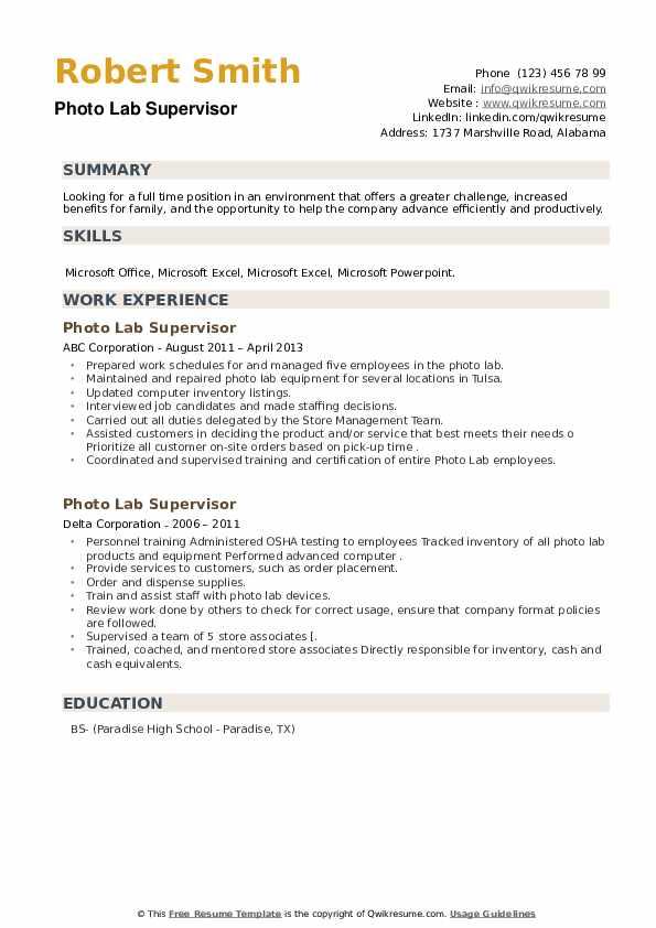 Photo Lab Supervisor Resume example