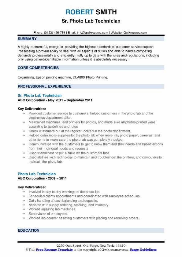 Sr. Photo Lab Technician Resume Model