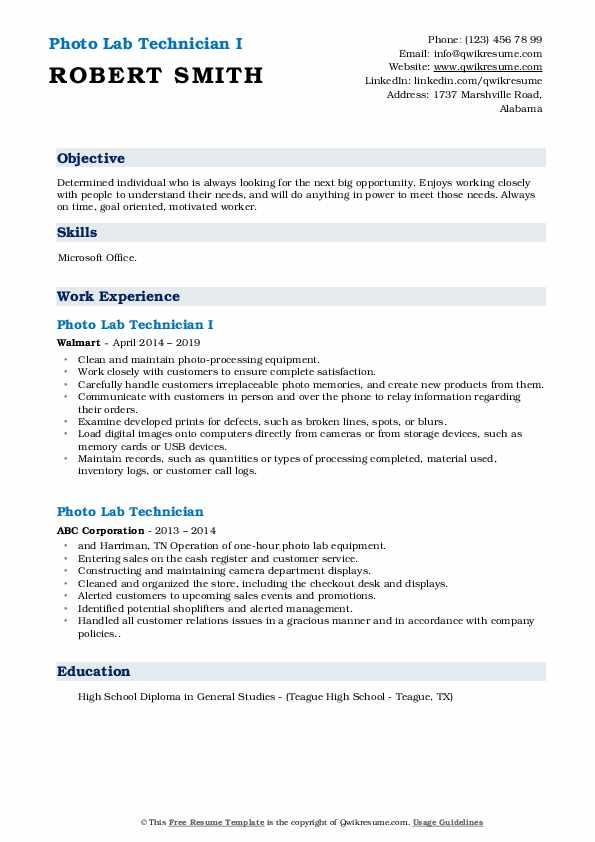 Photo Lab Technician I Resume Format