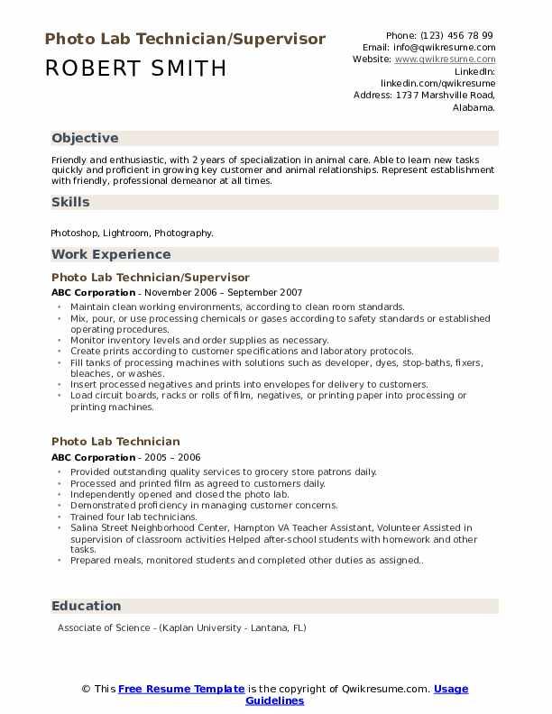 Photo Lab Technician/Supervisor Resume Format