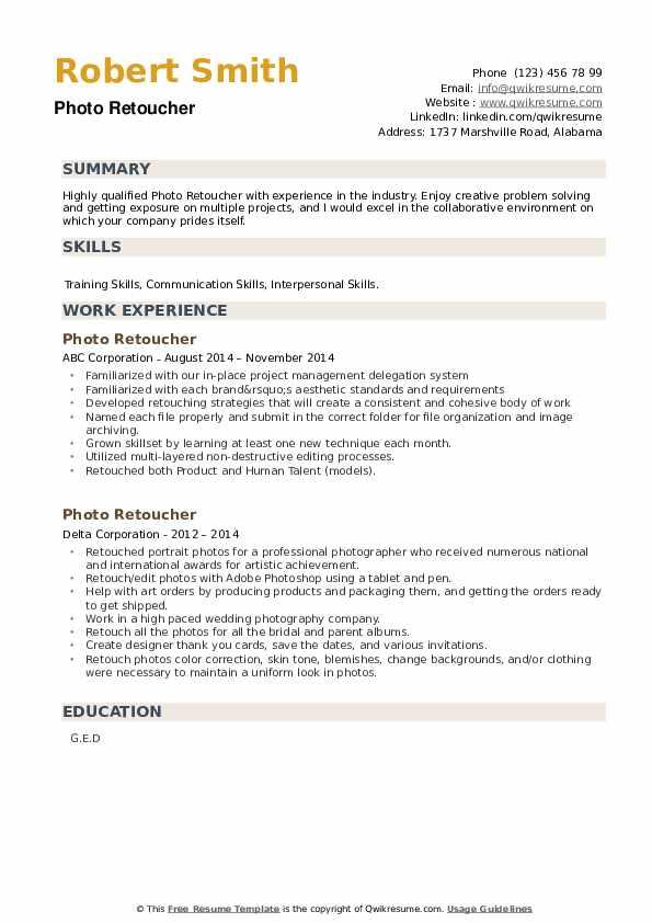 Photo Retoucher Resume example