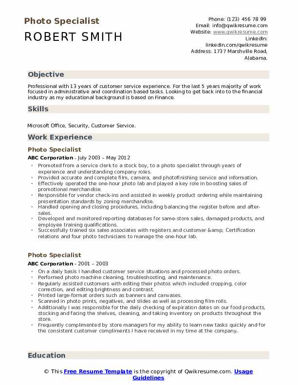Photo Specialist Resume Example