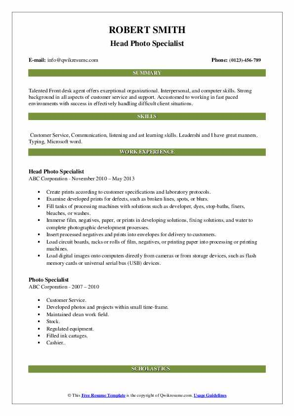Head Photo Specialist Resume Example