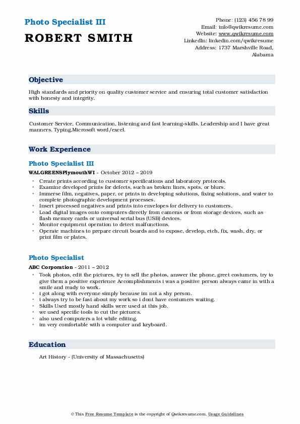 Photo Specialist III Resume Template