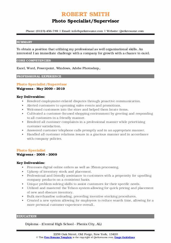 Photo Specialist/Supervisor Resume Format