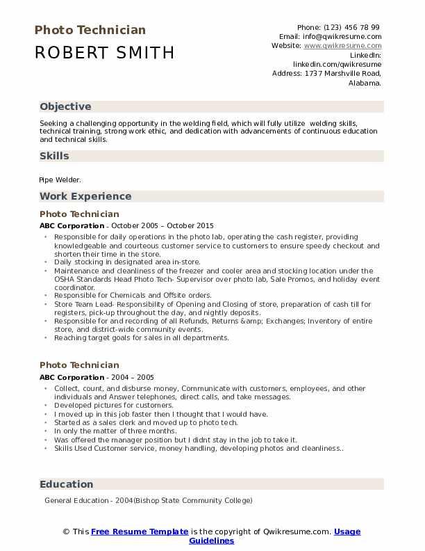 Photo Technician Resume Sample