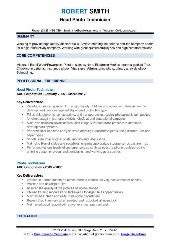 Head Photo Technician Resume Model
