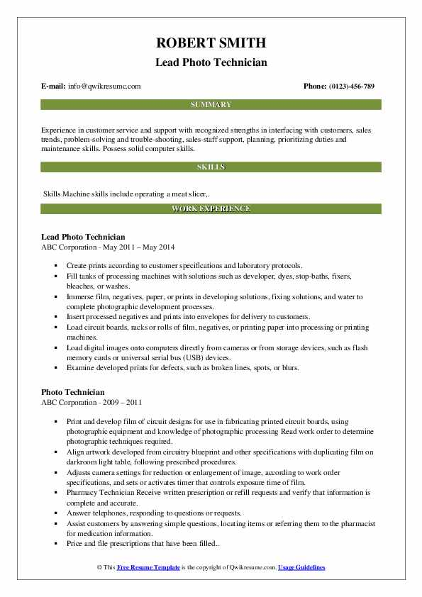 Lead Photo Technician Resume Model