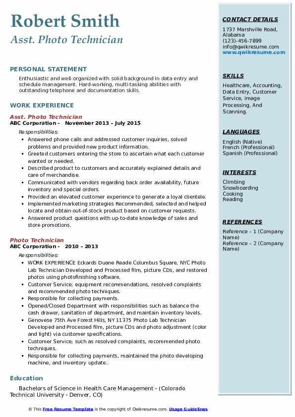 Asst. Photo Technician Resume Format