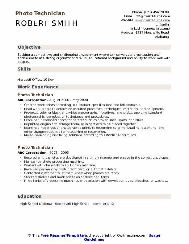 Photo Technician Resume example