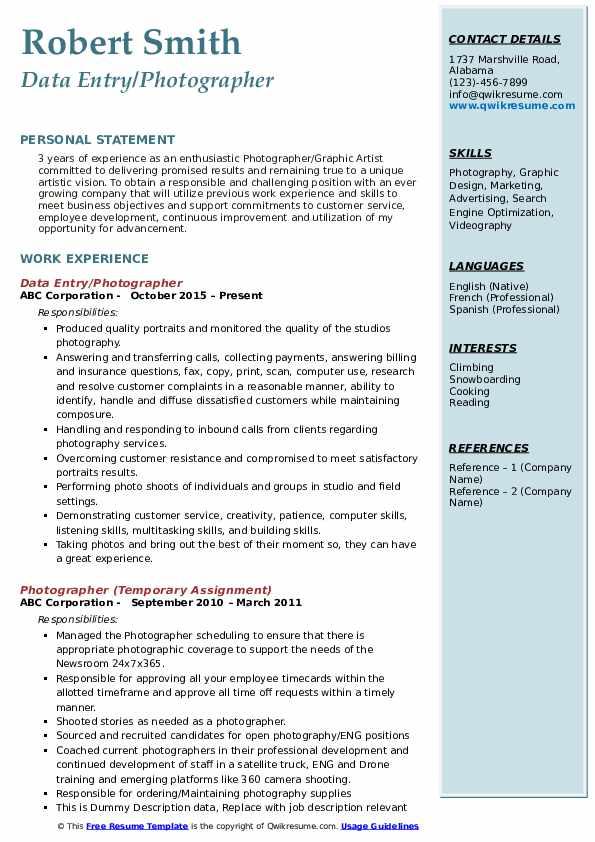 Data Entry/Photographer Resume Model