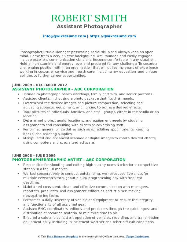 Assistant Photographer Resume Sample