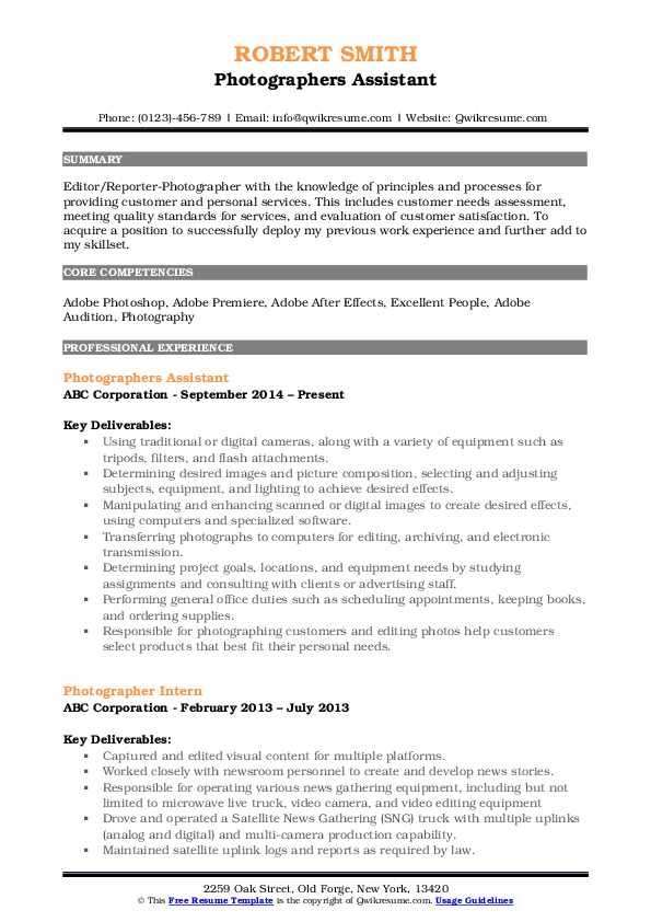 Photographers Assistant Resume Template
