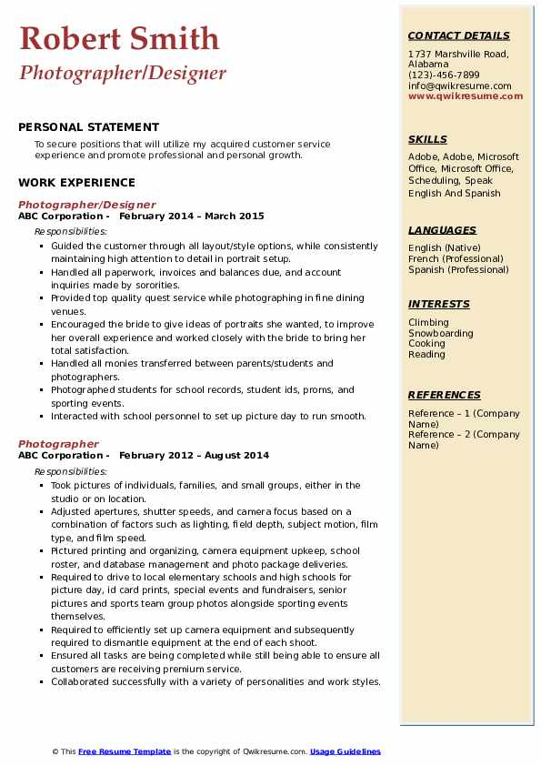 Photographer/Designer Resume Format