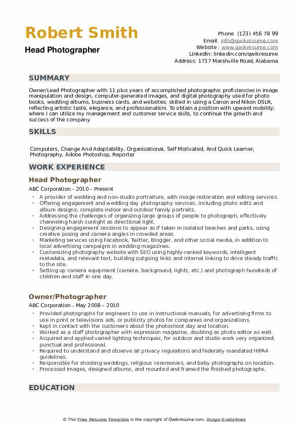 Photographer Resume Samples Qwikresume