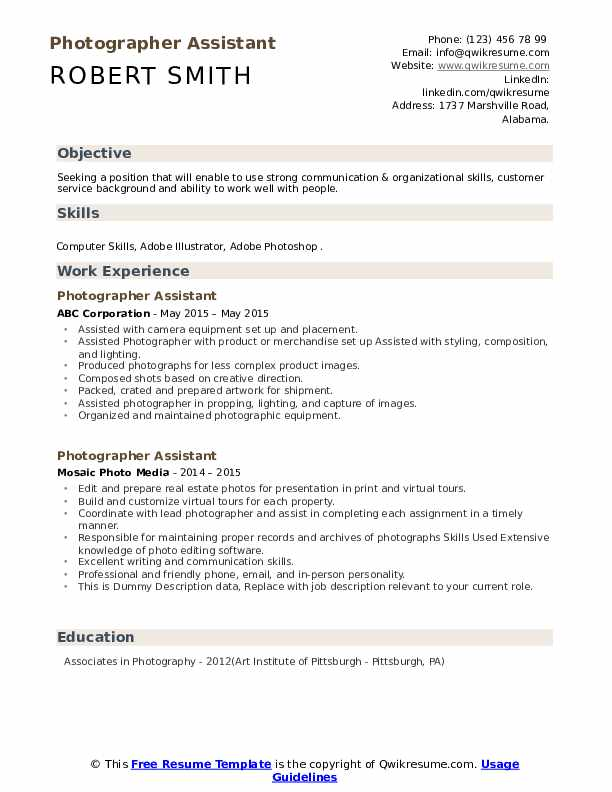 Photographer Assistant Resume example