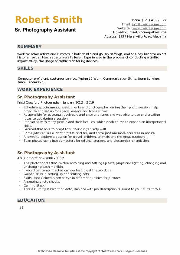 photography assistant resume samples  qwikresume