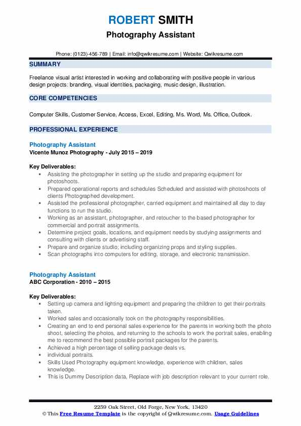 Photography Assistant Resume example
