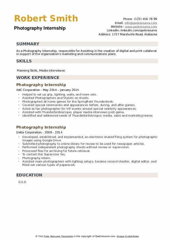 Photography Internship Resume example