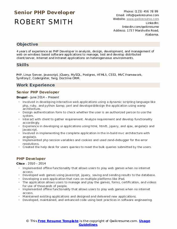 PHP Developer Resume Samples | QwikResume