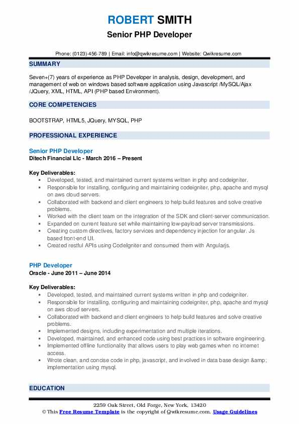 Senior PHP Developer Resume Template