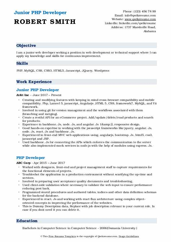 Junior PHP Developer Resume Model