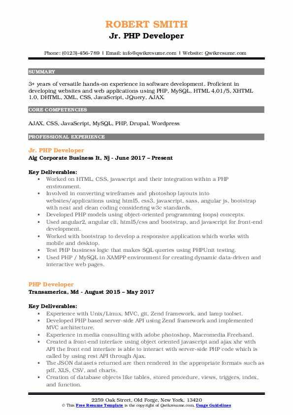 Jr. PHP Developer Resume Sample