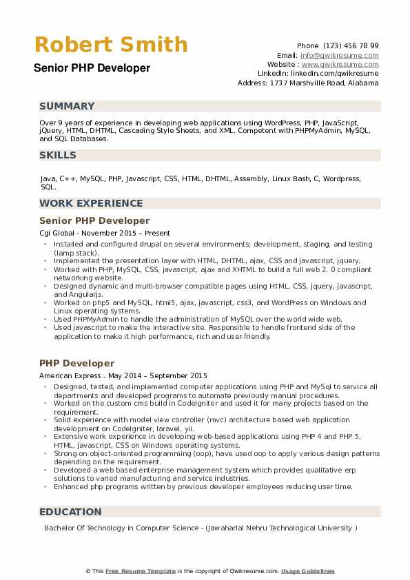 Senior PHP Developer Resume Sample