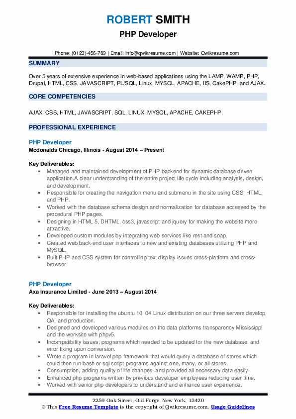 PHP Developer Resume example