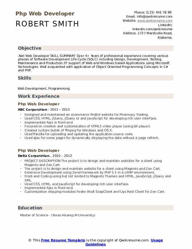 php web developer resume samples  qwikresume
